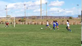 Forward out-sprints defenders for a goal