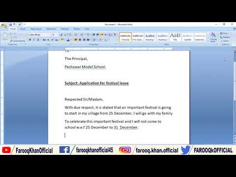 How to write Festival Leave Application - Letter writing in English