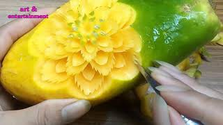 #67 Pattern Carved On Papaya | Carving Fruits | Art & Entertainment