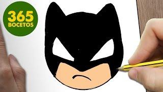 COMO DIBUJAR BATMAN EMOTICONOS WHATSAPP KAWAII PASO A PASO - Dibujos kawaii fáciles