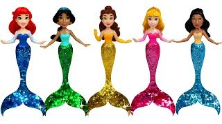 Disney Princess Play Doh Glitter Mermaid MAGICLIP ROYAL CLIP Doll Transformation Ariel Belle Jasmine