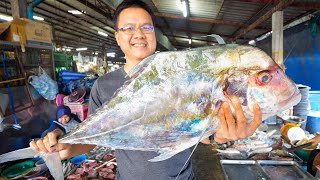 Thai Street Food - AFRICAN POMPANO!! 🐠 Market to Table in Phang Nga, Thailand!! 🇹🇭