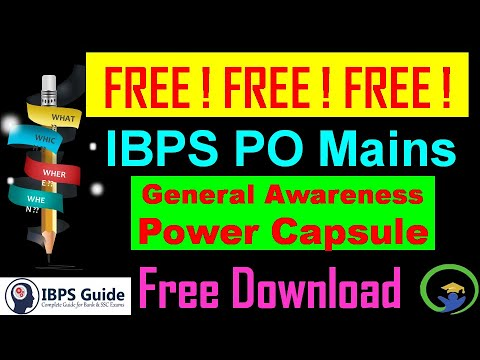 IBPS PO Mains || Free General Awareness Capsule for Mains ||