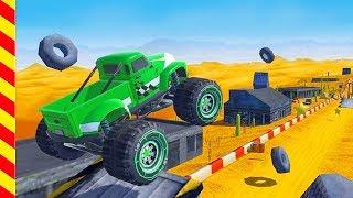Гонки для мальчиков по пустыне. От машинок отлетают колеса на трассе. Машины для детей.