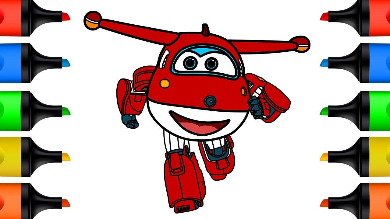 Super Wings Drawing and Coloring for Kids Learn Colors How to Draw Jett Super Wings Coloring Pages