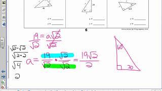 Unit 7 - Lesson 2 - Special Right Triangles