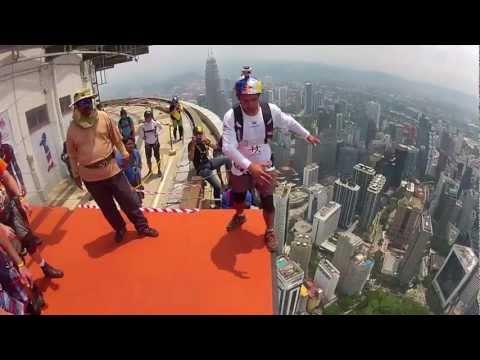 BASE Jumper Acrobatics Off Skyscraper
