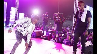 Destiny Boy Challenges Small Doctor on stage as he shows off his Zanku legwork dance at his  concert