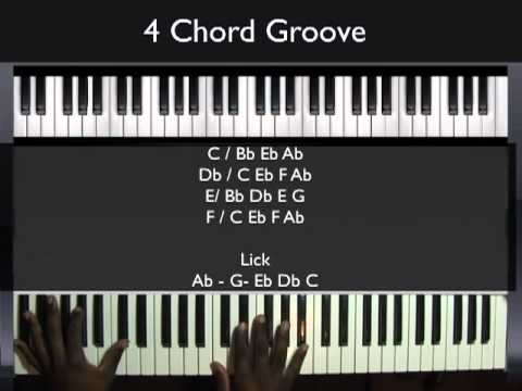 How to play a 4 Chord Groove  Piano Tutorial