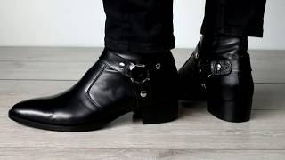 Black Leather Harness Boot, Made In Italy By Thomas Bird
