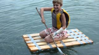 home made raft made of bottles