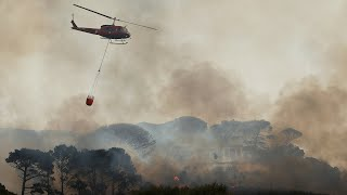 video: Watch: Raging wildfire forces evacuation of Cape Town university