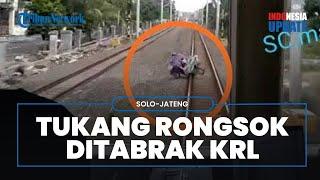 Detik-detik KRL Solo-Jogja Tabrak Tukang Rongsok, Korban Berdiri Bawa Pulang Sepeda Ontel Ringsek