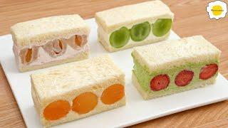 Fruit sandwiches and four Chantilly cream 水果三明治和四种尚蒂依奶油 Sandwichs fruits et quatre crèmes Chantilly