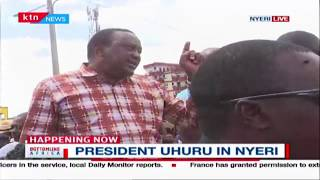 President Uhuru catches Nyeri residents unaware, makes a surprise landing with his military chopper