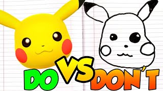DOs & DON'Ts Drawing Bulbasaur, Pikachu, Charmander, Eevee, Squirtle POKÉMON In 1 Minute CHALLENGE!