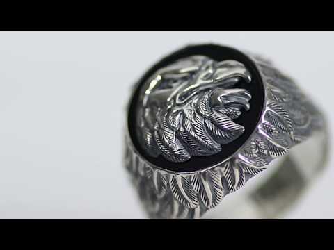 REBELIGION True Silver - Herren Adler Sterling Silber Siegel Ring - Männer Schmuck