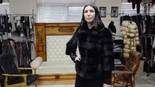 """Обзор укороченной шубы """"Андреина"""" из натурального меха норки, цвет чёрный #86"""