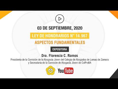 LEY DE HONORARIOS N° 14.967 - 3 de Septiembre de 2020