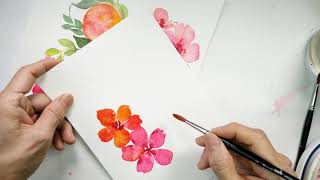 Watercolour Fruit And Floral Wreaths - Open Florals