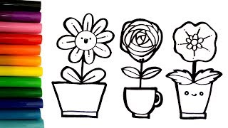 How To Draw And Coloring Flowers - Coloring Pages For Kids - Learn Colors