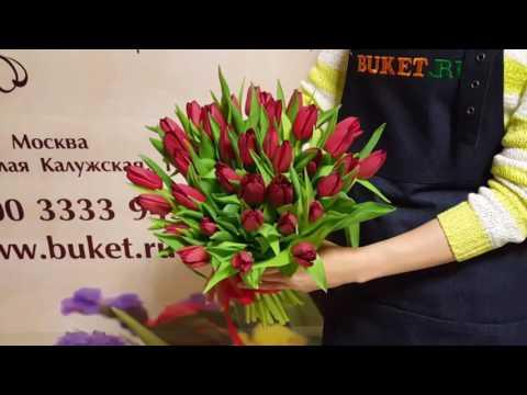 Букет алых тюльпанов «Мадонна»