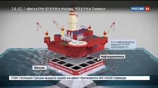 «Приразломная» — рукотворный остров (специальный репортаж телеканала «Россия-24»)