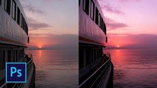 Как сделать розовый закат в фотошопе