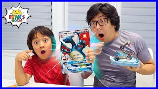 Ryan and Daddy opening Giant Size Pokemon Cards!!!