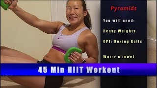 PYRAMID HIIT (light +heavy weights)