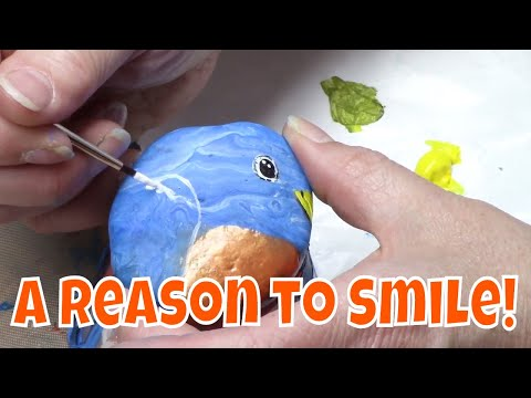 DIY Rock Painting Tutorial – Cute Bluebird for Hidden Rock Game