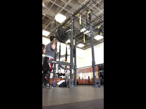 Squats are tough and fun - 300 pounds for an easy single.