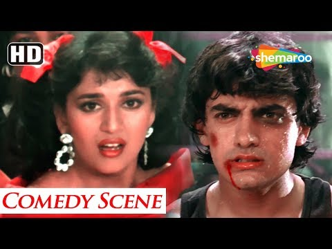 Fight for kisses scene between Amir Khan & Madhuri Dixit - Dil - Blockbuster Comedy Movie