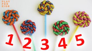 Learn to count with candy Lollipop numbers ✿ Numbers 1 to 5 ✿ English numbers 123