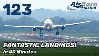 123 Amazing Heavy Landings In 40 Minutes. Airbus A380 A350 A330 Boeing 747 767 777