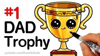 How to Draw a Trophy for DAD for Father's Day step by step Cute