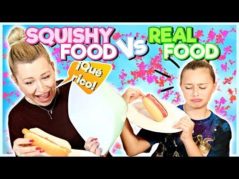 🌭¡SQUISHY FOOD vs  REAL FOOD CHALLENGE! 🍌   Familia Carameluchi 👨👩👧👦