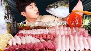 MUKBANG ASMRㅣFantastic! Giant Yellow Tail Fish Sashimi Eat?Korean Seafood 후니 Hoony Real Eating Sound