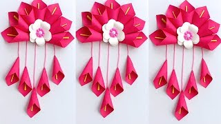 DIY SIMPLE HOME DECOR WALL DECORATION HANGING FLOWER PAPER CRAFT IDEAS - PAPER CRAFT
