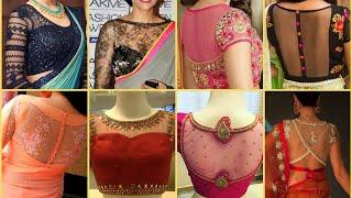 Top 100 Partywear Net Blouse Designs || Netted Saree Blouse Designs 2019