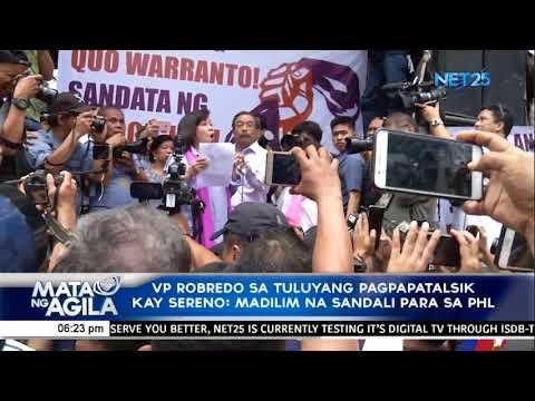 [EagleNewsPH]  VP Robredo sa tuluyang pagpapatalsik kay Sereno; Madilim na sandali para sa PHL