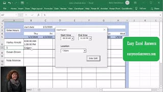 How to add employee hours and locations in Excel
