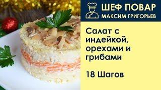 Салат с индейкой, орехами и грибами . Рецепт от шеф повара Максима Григорьева
