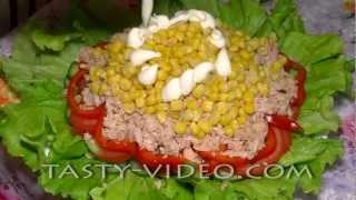 Смотреть онлайн Вкусный салат на скорую руку