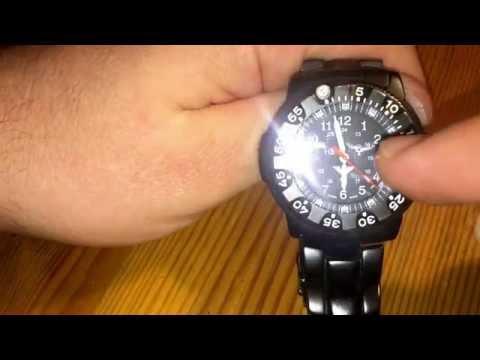 Taucherlünette benutzen verstellbare Lünette an Taucheruhr Zeit manuell messen an KHS Uhr Anleitung