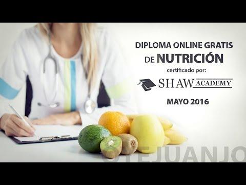 Diploma gratis de Nutrición con certificado