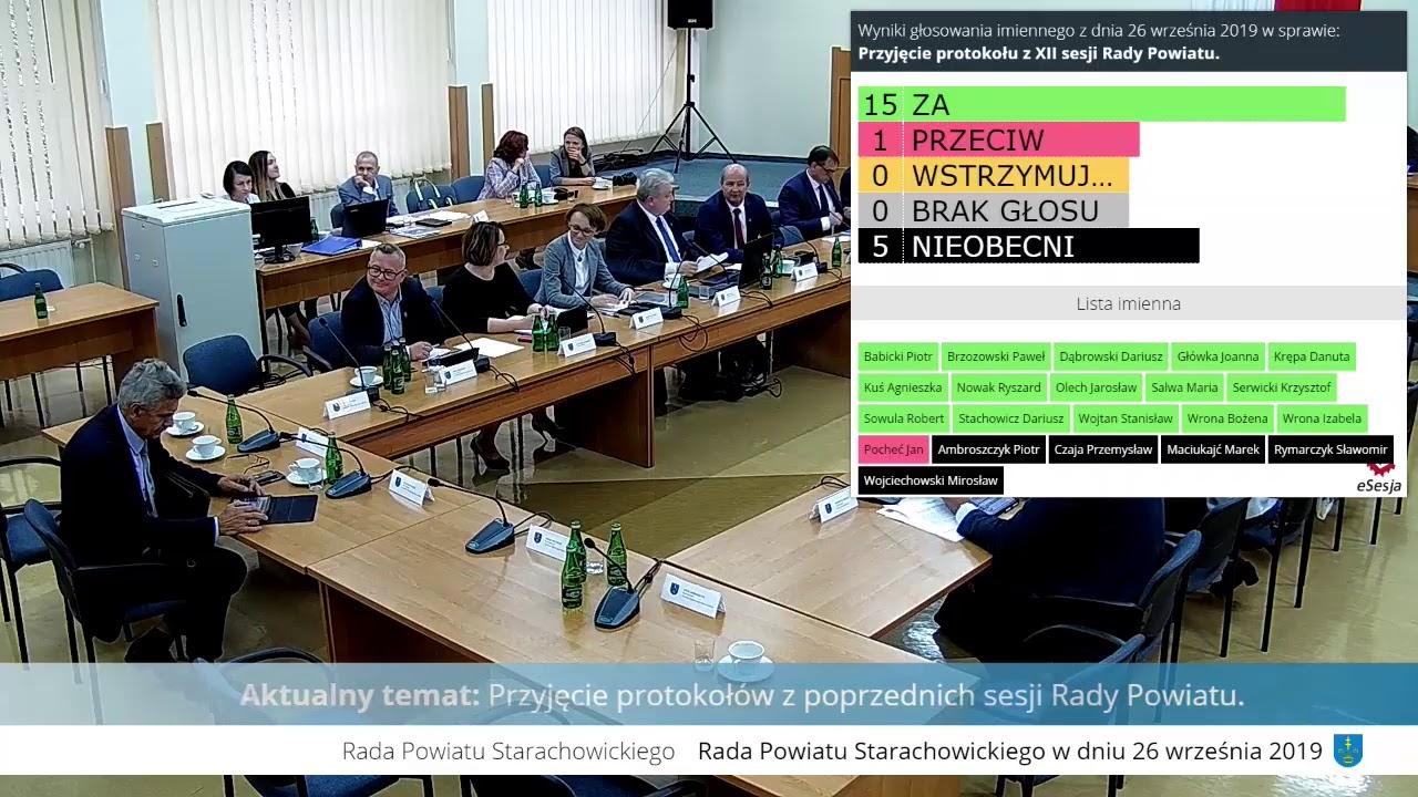 XIII Sesja Rady Powiatu w Starachowicach 26.09.2019r.