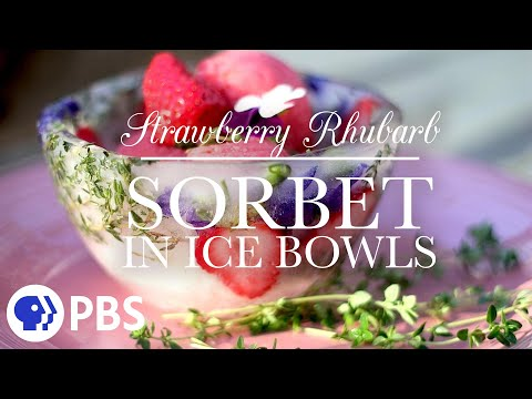 Strawberry Rhubarb Sorbet in Ice Bowls