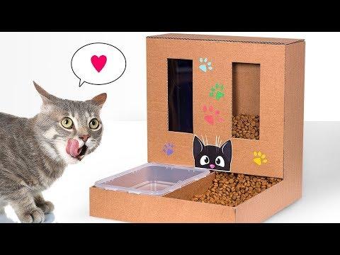 Selbstgemachter Katzenfutterautomat aus Pappe für Zuhause