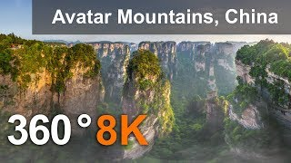 360 video, Avatar Mountains, Zhangjiajie National Park, China. 8K aerial video
